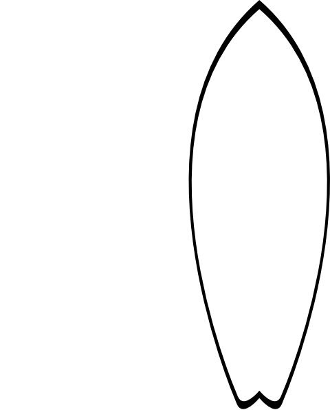 outline of surfboard clipart 4