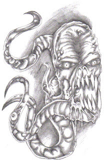 Demonic tentacle shaded pencil art