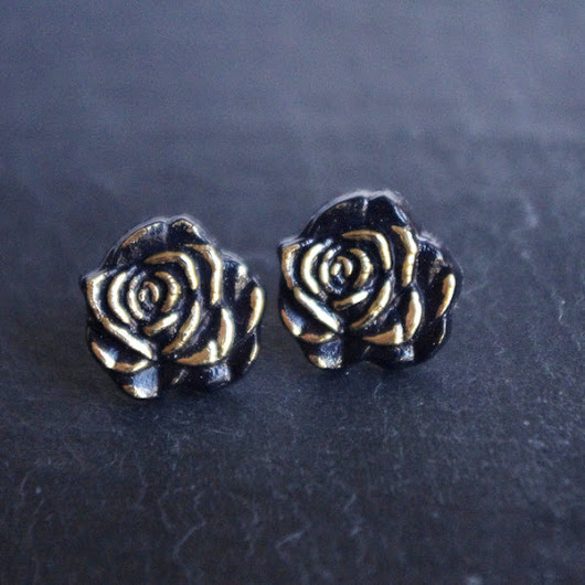 black rose stud earrings gothic post dark golden jewelry 20mm