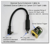 CP1056: Special Sync Extension Cable to Connect Sonia Optical Trigger to Canon EX Flash Units for Repeat Firing