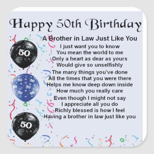 Brother in Law Poem 50th Birthday Square Stickers