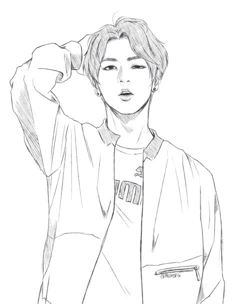 high cut  puma jungkook bts drawings   bts