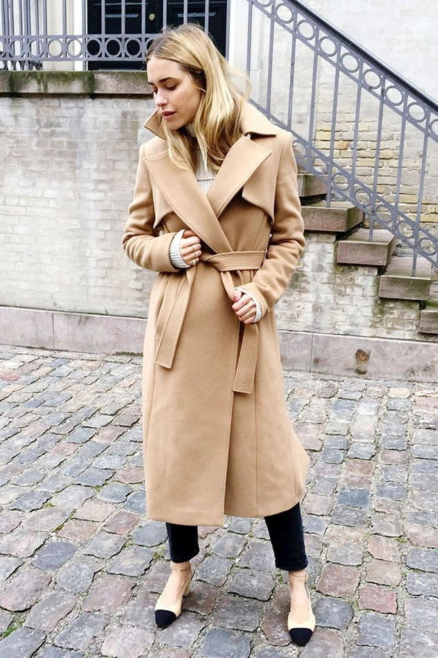 Le Fashion Blog Longline Wool Camel Belted Trench Coat Cream Turtleneck Knit Gold Ring Pack Black Cropped Denim Cap Toe Slingback Heels Via Look De Pernille