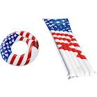 "Swimline 36"" Inflatable American Flag Pool Tube + 72"" American Flag Raft"