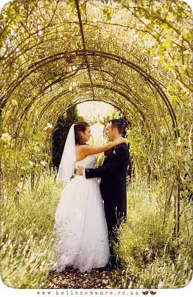 Archway Bride and Groom Haughley Park Barn Vintage Alternative Suffolk Wedding Photography - www.helloromance.co.uk