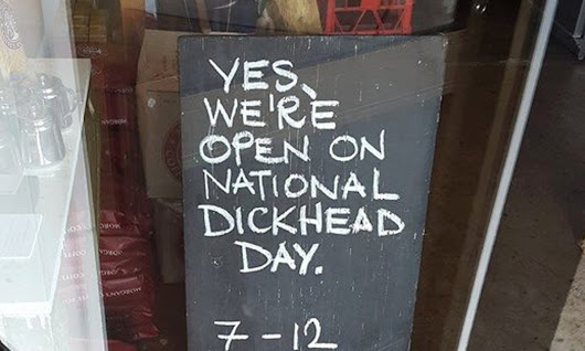 NSW cafe's 'National Dickhead Day' sign sparks death threats and vandalism | Australia news | The Guardian