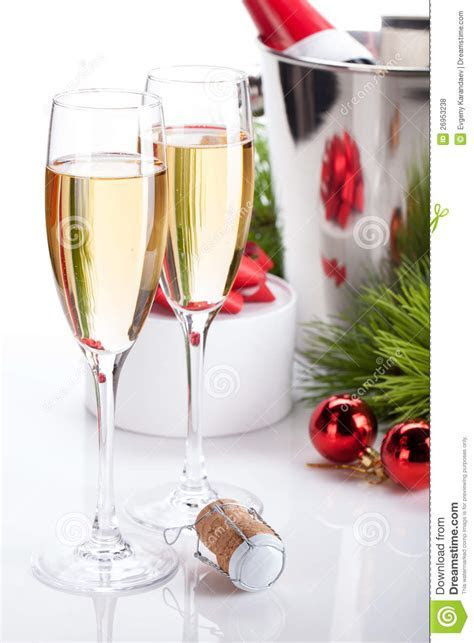 Champagne Glasses And Christmas Decor Royalty Free Stock