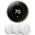 Google Nest Learning Thermostat 3rd Gen, Brass w 3x Temperature Sensor