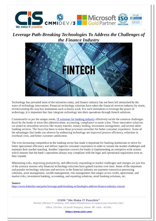 Leverage Path-Breaking Technologies To Address the Challenges of the Finance Industry
