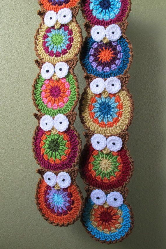 crochet owl scarf