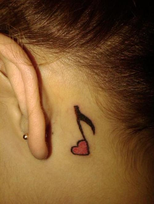 Music Note With Heart Back Ear Tattoo