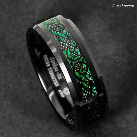 8mm Tungsten Ring Black Celtic Dragon Green Carbon Fiber