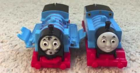 Ryan plays with Crash & Repair Thomas the train motorized Trackmaster train