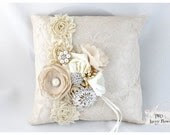 Wedding Lace Ring Pillow Bridal Jeweled Ring Pillow Custom Beaded Ring Pillow with Lace Brooches Crystals Flowers in Champagne and Ivory