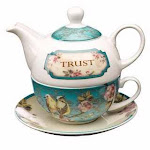Christian Art Gifts 363229 Tea Set - Tea For One & Trust With Gift Box