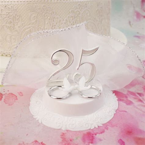 25th Wedding Anniversary Cake Topper With 2 Doves On