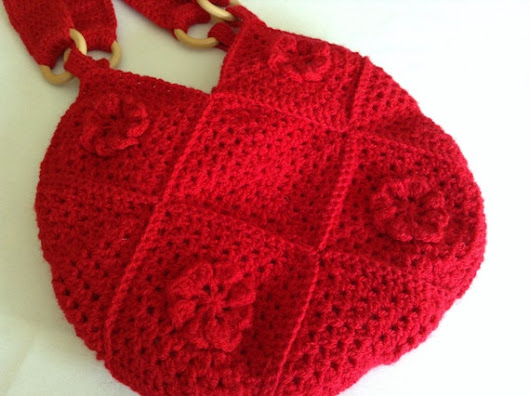 Red Crocheted Bag Red Shoulder Bag Festival by BlueShedCrafts