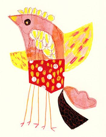 Jacinthe Chevalier dessin collage couture personnage couleur carton