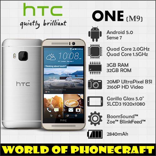"HTC one M9 Factory Unlocked Qualcomm Octa Core 3GB RAM 20MP Gorilla Glass 5"" FHD 1920*1080 4G TDD FDD LTE NFC Android Smartphone"