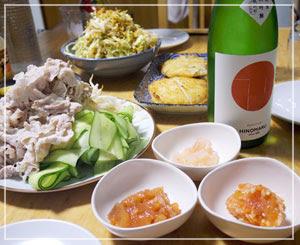 ザ・日の丸!な感じの日本酒で夕御飯。