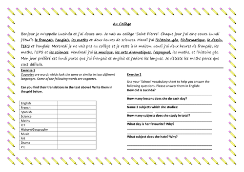 KS3 French School Subjects Reading P By Dannielle89