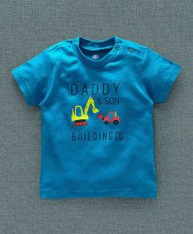 Zero Half Sleeves T-Shirt Daddy & Son Print - Blue