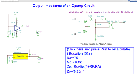 Output Impedance of an Opamp Circuit Simulation with TINACloud