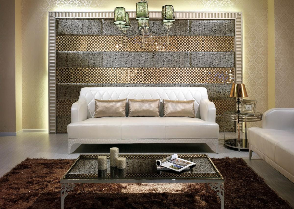 Terrific Living Room Wall Decor With Sparkling Tiles ...