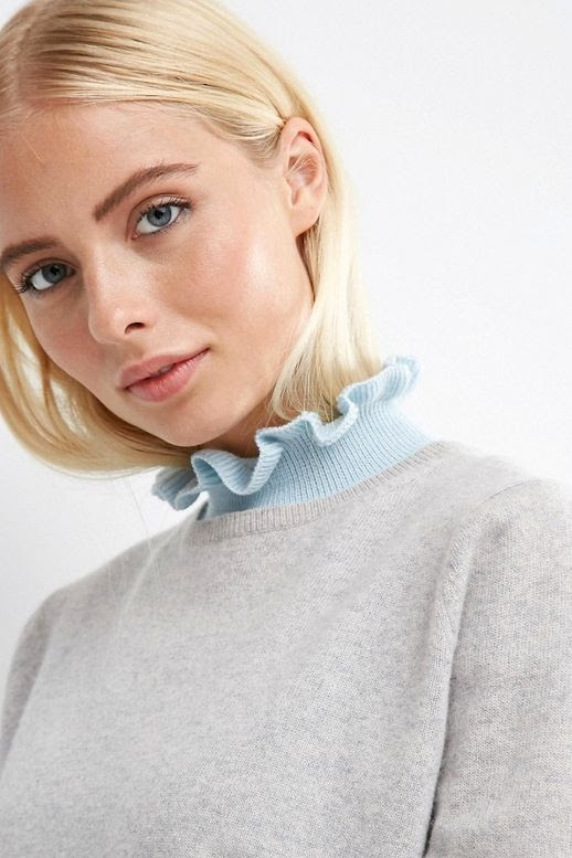 Le Fashion Blog Fall Style Layers Blonde Grey Sweater Pale Blue Ruffled Collared Bib Via ASOS
