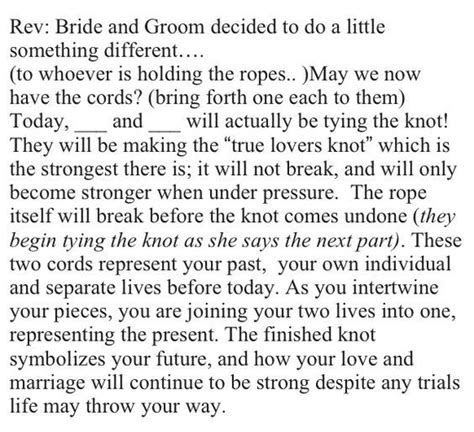 "Actual ""tying the knot"" ceremony wording!:   Hopeless"