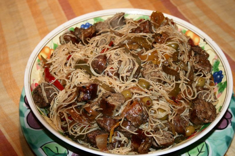 Sausages and Peppers with Spaghetti