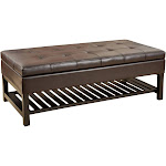 Miriam Wood Rectangle Storage Ottoman Bench with Bottom Rack - Espresso - Christopher Knight Home
