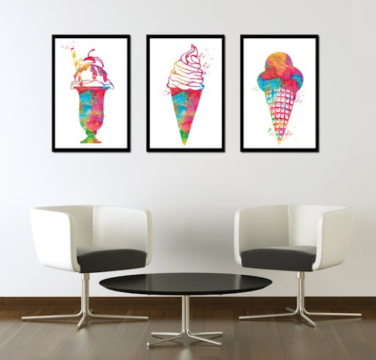 BUY 2 GET 1 FREE Set of 3 prints Ice cream by BogiArtPrint on Etsy
