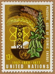 United Nations stamp depicting atomic energy