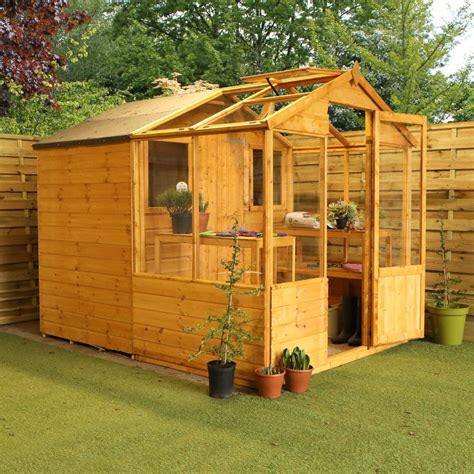 mercia traditional apex combined greenhouse shed