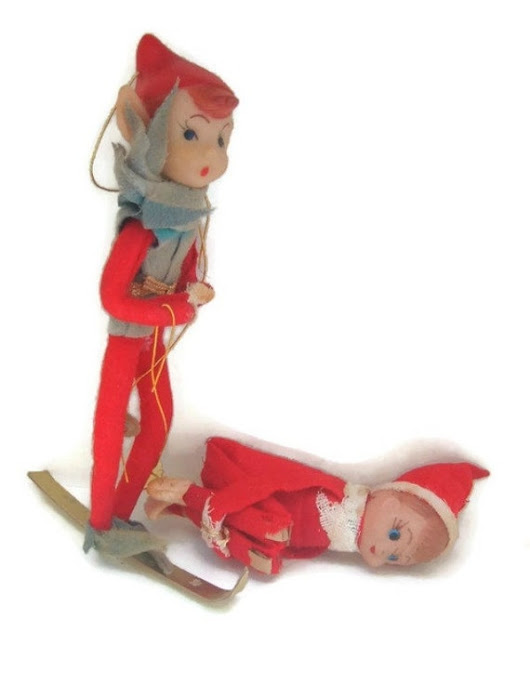 Skiing  Elf and Knee Hugger Vintage Christmas by spankyluvsvintage