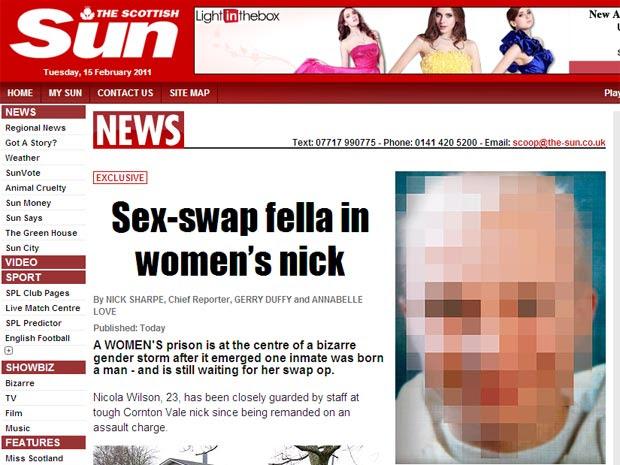 """Reportagem do """"Sun"""" mostra foto censurada de Nicola Wilson, 22, que foi detida em prisão feminina (Foto: Reprodução)"""