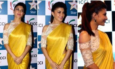 Jacqueline Fernandez in yellow Silk Saree by Manish Malhotra