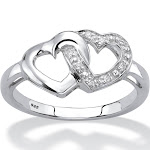 Diamond Accent Platinum over Silver Heart Ring