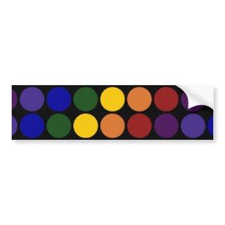 Rainbow Polka Dots on Black Bumper Stickers