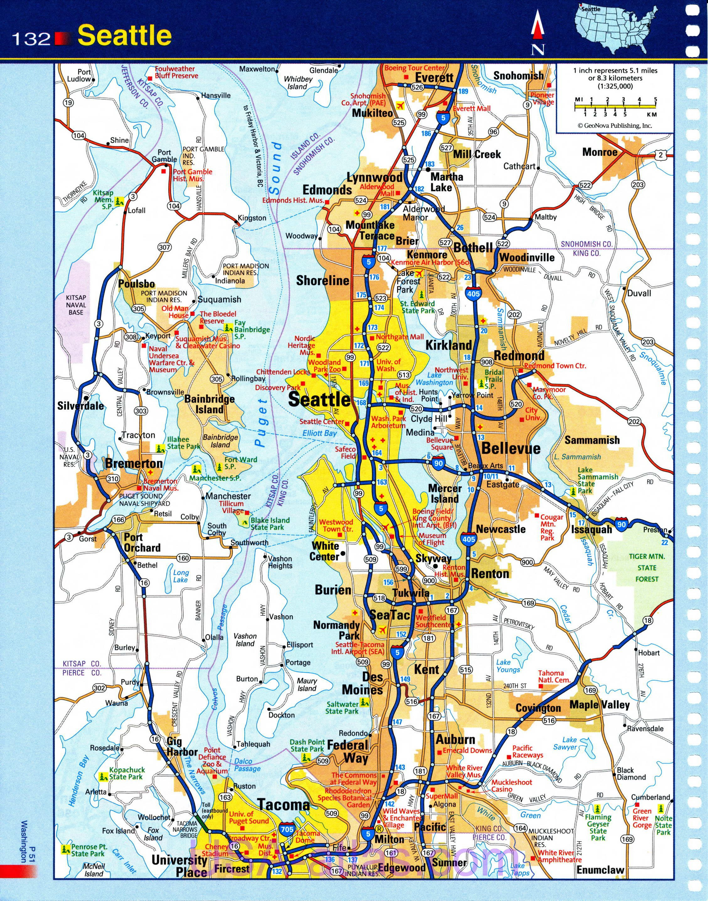 Seattle Map Detailed Road Map Of Seattle Wa Clear Map Of