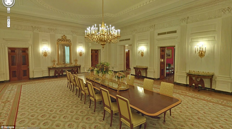 Stunning: The new 360-degree tour lets people explore 13 public rooms including this formal dining room
