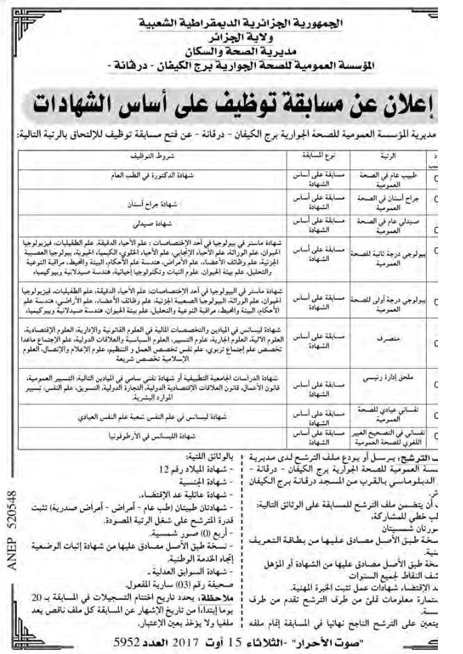 اعلان عن توظيف في المؤسسة العمومية للصحة الجوارية برج الكيفان الجزائر أوت 2017