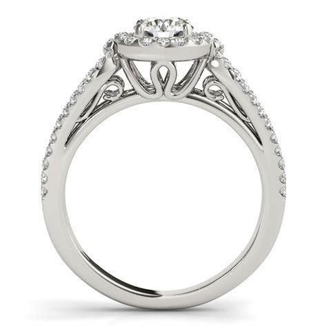 Teardrop Split Band Round Diamond Engagement Ring in 14k