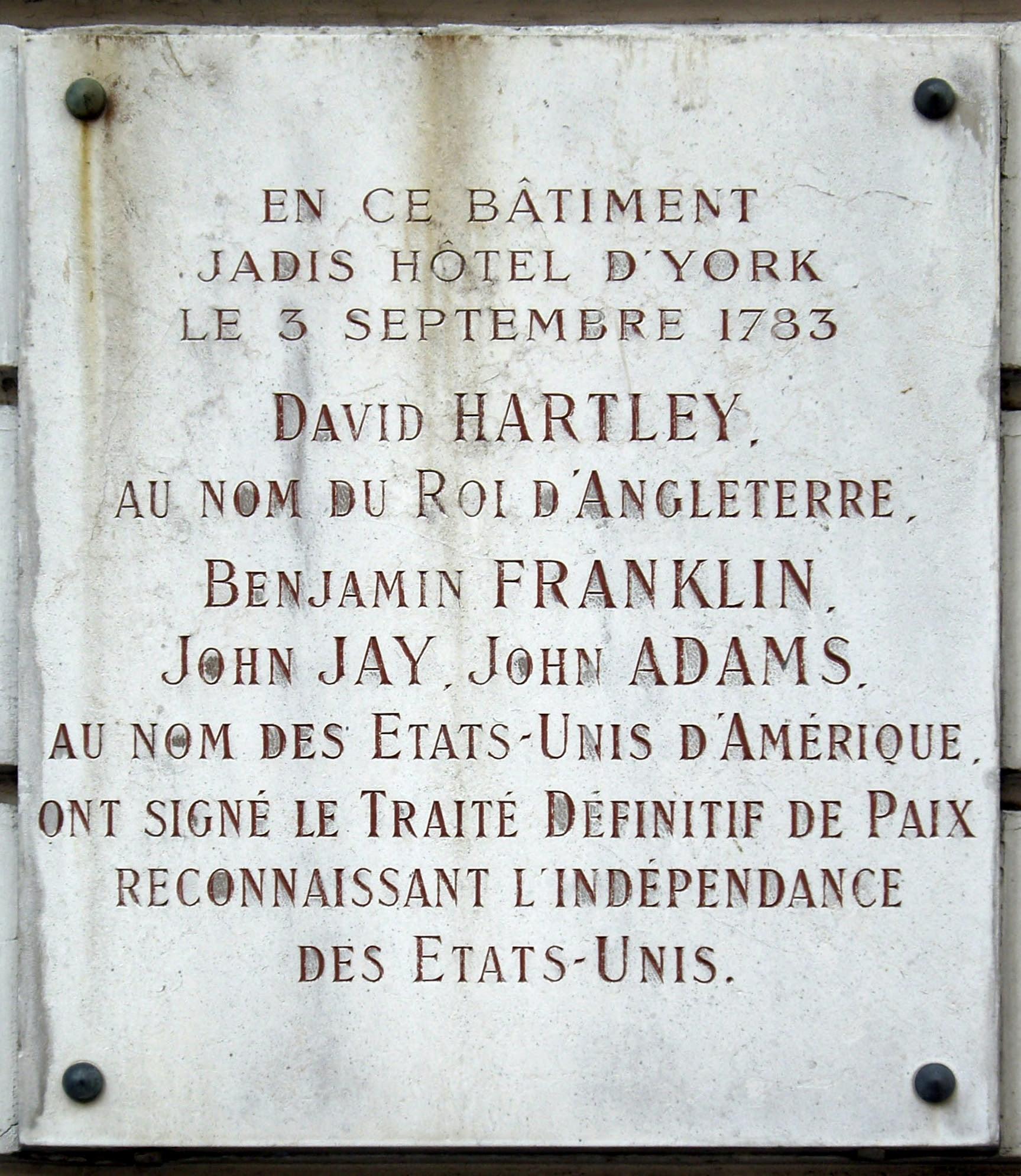 Plaque commemorating the Treaty of Paris of 1783