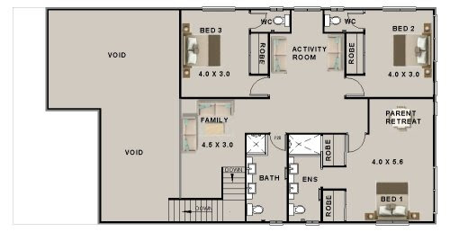 4 Bed Flat Roof 2 Storey Plan:356RM | 4 bed + Study + 2 ...