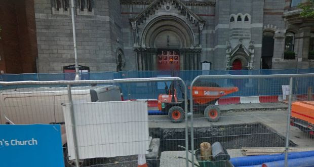 The Luas works barriers in front of St Anne's Church in Dawson Street, Dublin. The Black Santa appeal has taken place at the church annually for the past 15 years.