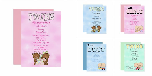 Twins Baby Shower Invitations Collection