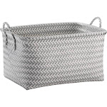 Room Essentials Woven Rectangular Storage Basket, Gray/White