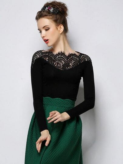 Black Long Sleeve Contrast Lace Collar T-Shirt pictures